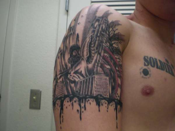 Crazy guy/building scene tattoo