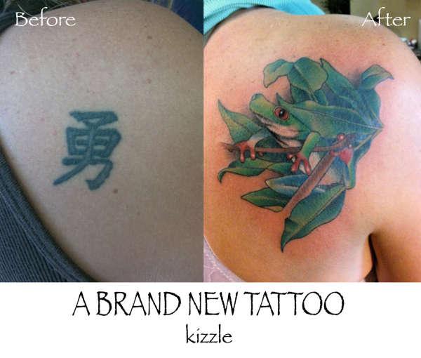 TreeFrog(KanjiCoverUp) tattoo