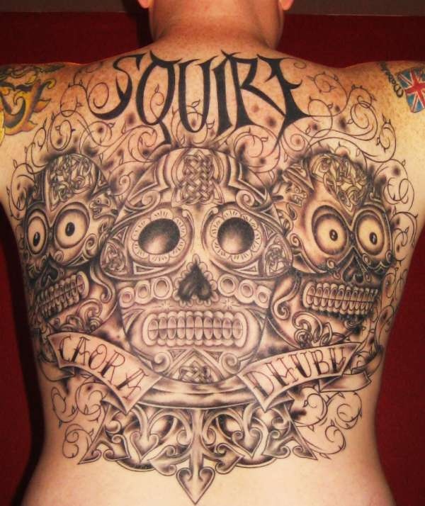 Celtic warrior sugar skull fusion tattoo for Celtic skull tattoo