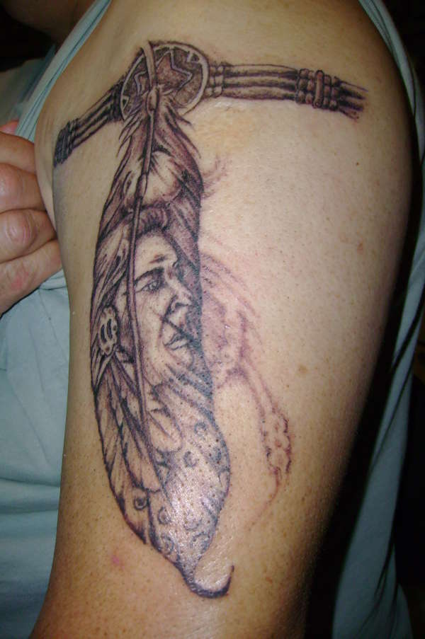 indian feather w armband tattoo. Black Bedroom Furniture Sets. Home Design Ideas