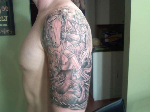 St george half sleeve tattoo for St george tattoo