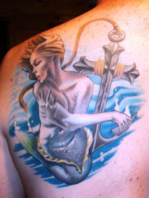 Mermaid & Anchor Cross tattoo