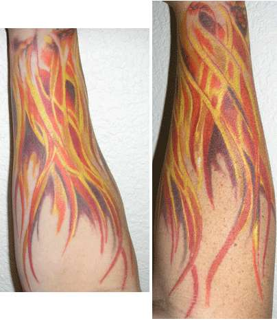 Wrist flames tattoo