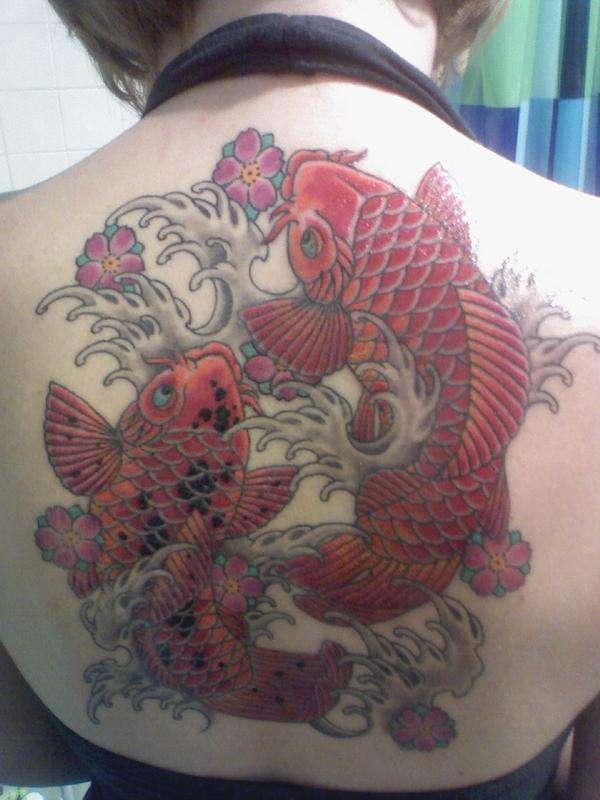 Memorial Koi Half Back Piece tattoo