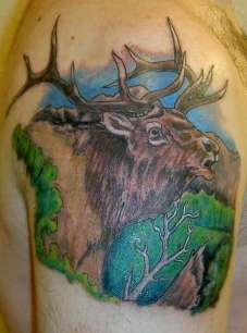 Bugling Elk tattoo