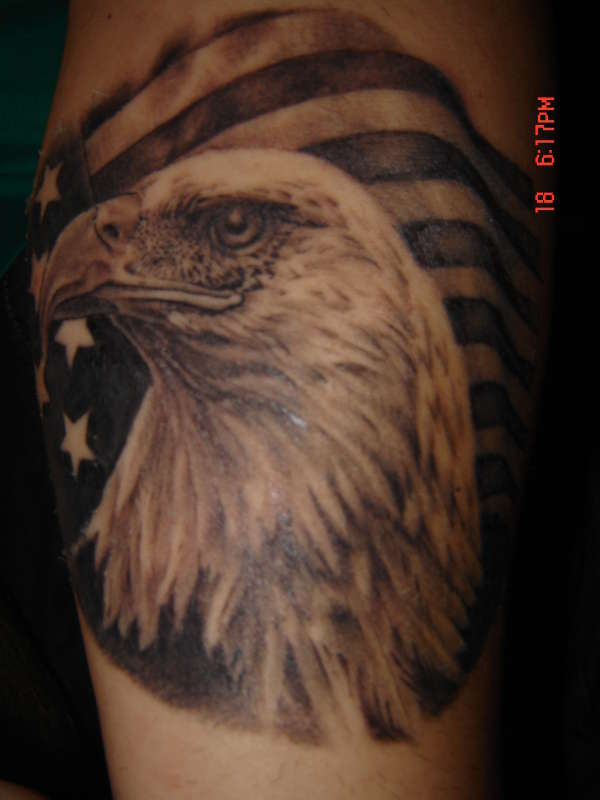 EAGLE WITH AMERICAN FLAG tattoo
