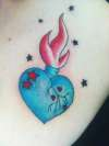 Flaming heart bottle, My own design. tattoo