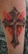 cross /red tribal tattoo