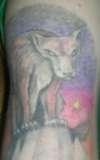 Hyena Red Fox on Mountain tattoo