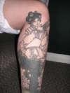 Geisha Leg Sleeve 2 (unfinished) tattoo