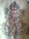 Ganesh before color tattoo