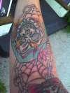 spider skull sleeve tattoo