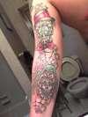 spiderweb chain an skull sleeve tattoo