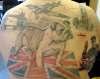 bulldog, winston churchill, london tower bridge,spitfire, back tattoo