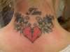 heart and flowers on back of neck rate please tattoo