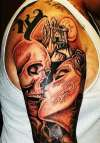 day of dead woman skull kiss castle tattoo