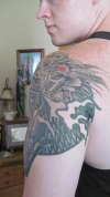 back view jap dragon/ led zepp tat tattoo