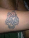 flaming  skull tattoo