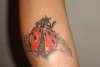 lady bug on leg tattoo