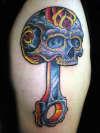 Sugar Skull Piston By Beto Munoz of Monkeyproink.com tattoo