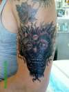 evil mask monster asian mens arm black grey wash tattoo