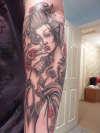 latest addition to my sleeve, Geisha Warrior girl tattoo