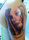 religous mary rosary grey wash portrait tattoo