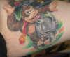 Donkey Kong on a rhino tattoo