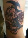Candy Skulls with Custum Tribal 2 tattoo