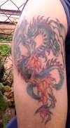 Western Dragon tattoo, right upper arm tattoo
