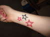 Pink and Black Stars tattoo