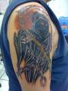 Grim Reaper with cool scythe tattoo
