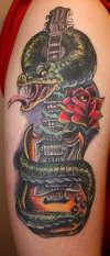 Guitar Snake Rose tattoo