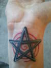 Retouched colored wrist star tattoo