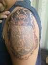 howards skull tattoo