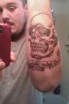 skull with banner tattoo