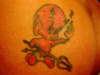 HOT STUFF on the bun tattoo
