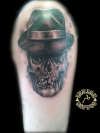 skull with gangster hat tattoo