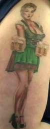German Beer Maid Pin-Up Girl tattoo