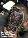 Gypsy woman on the head tattoo by Craig Holmes
