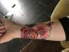 Rose + Orchid tattoo