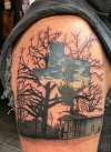 Texas with Cabin and Trees tattoo