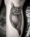 linework owl tattoo