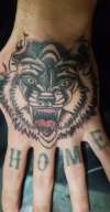 traditional wolf by santa clause!!!!!!! tattoo