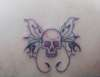 old skool skull butterfly tattoo