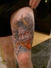 koi and mask tattoo