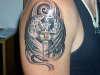 cross n angel wings tattoo