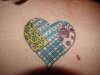 Patchwork heart tattoo
