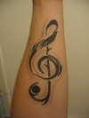 Tribal Treble Clef tattoo