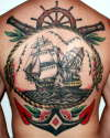 Old School Navy Back tattoo